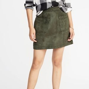 NWT Old Navy Green Faux Suede Skirt